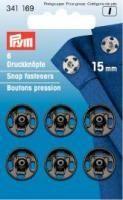 Prym - 6 Annäh-Druckknöpfe - Schwarz - 15 mm