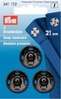 Prym - 3 Annäh-Druckknöpfe - Schwarz - 21 mm