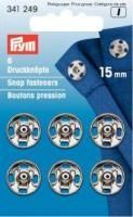 Prym - 6 Annäh-Druckknöpfe - Silber - 15 mm