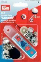 Prym - 10 Anorak-Druckknöpfe - Silber - 15 mm